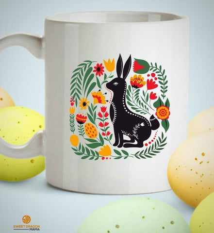 Woodland Style Bunny White Coffee Mug - Sweet Dragon Mama