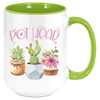Image of This coffee mug will bring a smile to any succulent lover or gardeners of any stripe. These premium ceramic coffee mugs capture brilliant, full-color designs. All colored inside/handle options are made with durable, thick walls for safe handling. Specifications: 11 or 15 oz. ceramic mug Matching colored inside/handle design