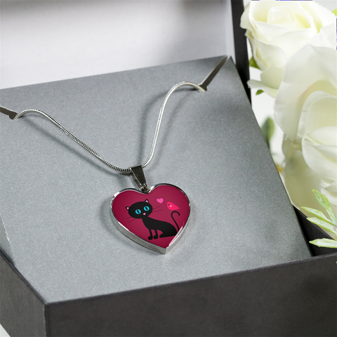 surgical stainless steel necklace with patent pending poured glass dome, black cat with orange bird and pink heart, maroon background, made and shipped from USA personalized engraving on back shown in gift box that comes free with product, free engraving