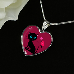 surgical stainless steel necklace with patent pending poured glass dome, black cat with orange bird and pink heart, maroon background, made and shipped from USA personalized engraving on back ,  gift box comes free with product, free engraving, shown on black background