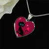 Image of surgical stainless steel necklace with patent pending poured glass dome, black cat with orange bird and pink heart, maroon background, made and shipped from USA personalized engraving on back ,  gift box comes free with product, free engraving, shown on black background
