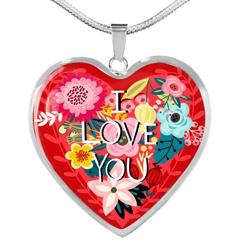 Floral I Love You Heart Necklace, Silver/Gold, personalized - Sweet Dragon Mama