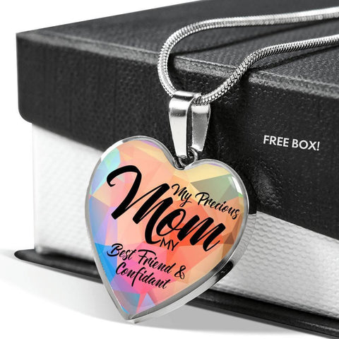 """My Precious Mom""-Heart Necklace Silver engraved"