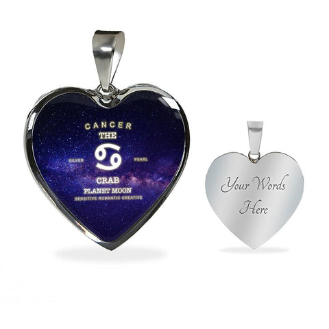 Zodiac-Cancer-Necklace w/Heart Pendant, personalized engraving