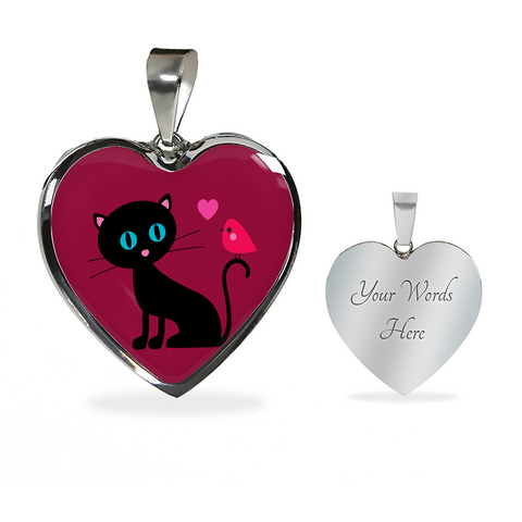 surgical stainless steel necklace with patent pending poured glass dome, black cat with orange bird and pink heart, maroon background, made and shipped from USA personalized engraving on back ,  gift box comes free with product, free engraving, back of pendant with engraving area shown