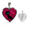 Image of surgical stainless steel necklace with patent pending poured glass dome, black cat with orange bird and pink heart, maroon background, made and shipped from USA personalized engraving on back ,  gift box comes free with product, free engraving, back of pendant with engraving area shown