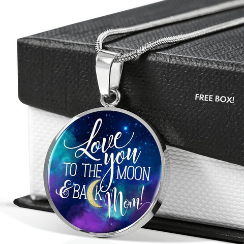 "High quality necklace of surgical grade stainless steel, with or without 18kt gold. Bluish-purple face with ""Love you to the Moon and Back"" on front . Personal engraving available on back."