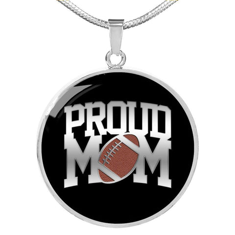 Proud Football Mom-Luxury Necklace, silver or gold, engraved