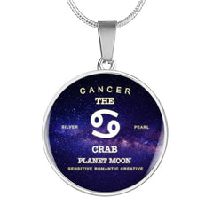 Zodiac-Cancer- Luxury Necklace or Bangle Bracelet with Round Pendant, Silver/ Gold, engraved
