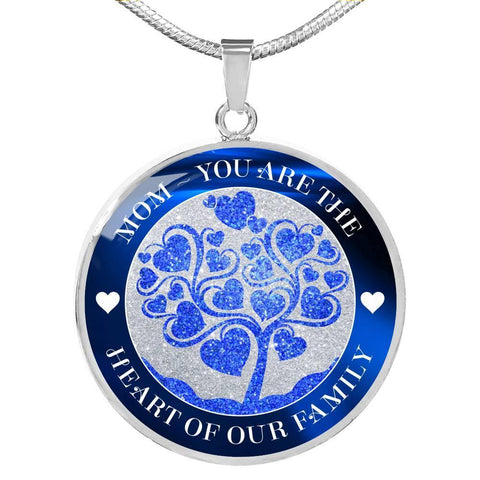 Mom Heart of Family Blue, Silver or Gold Necklace, Engraved - Sweet Dragon Mama