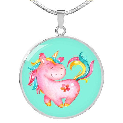 Pink Unicorn Silver Necklace
