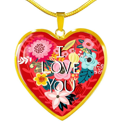 Floral I Love You Heart Necklace, Silver/Gold, personalized