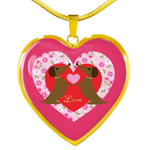 Doxie Love Heart Necklace, Silver/Gold, personalized