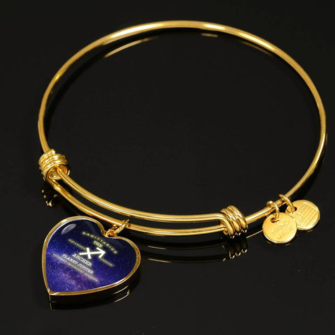 Sagittarius- Luxury Bangle Bracelet or Necklace with Heart Pendant, Silver or Gold, personalized