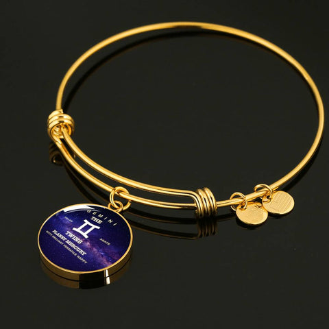 Zodiac-Gemini- Luxury Necklace or Bangle Bracelet with Round Pendant, Silver/Gold, engraved
