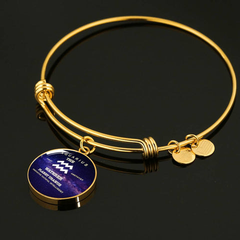 Zodiac-Aquarius Luxury Necklace or Bangle Bracelet with Round Pendant, Silver/ Gold, engraved