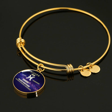 Pisces- Luxury Necklace or Bangle Bracelet with Round Pendant, Silver/ Gold,  engraved