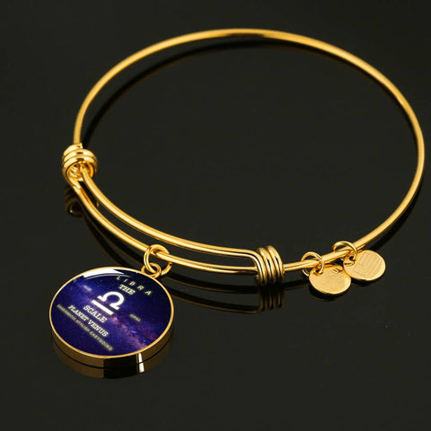 Zodiac-Libra- Luxury Necklace or Bangle Bracelet with Round Pendant, Silver/ Gold, engraved