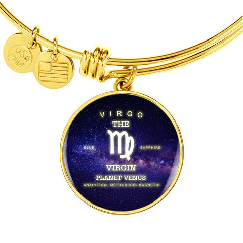 Virgo Luxury Necklace or Bangle Bracelet with Round Pendant, Silver/Gold, engraved