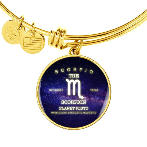 Scorpio- Luxury Necklace or Bangle Bracelet with Round Pendant, Silver/ Gold, engraved