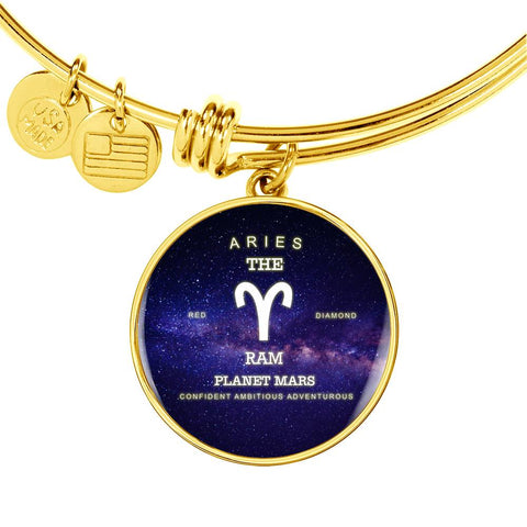 Zodiac-Aries-Luxury Bangle Bracelet or Necklace w/ Round Pendant, Silver/ Gold- engraved