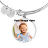 Image of Luxury Necklace/Bangle Bracelet w/Round Pendant-Upload Your Own Photo! Personalized engraving on the back!