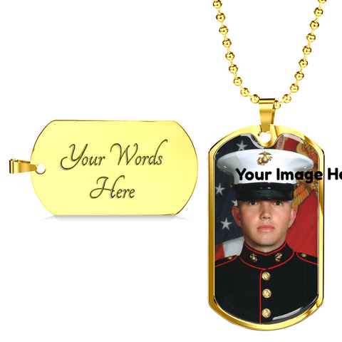 Dog Tag style necklace-Upload Your Own Photo!-Personalized engraving on the back!