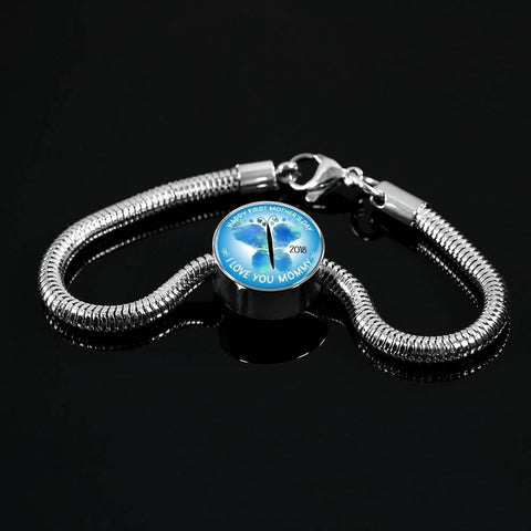 FirstMomsDay2018Blue-Luxury Steel Bracelet and charm, personalized