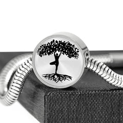 Yogi Tree of Life on Silver Charm, silver bracelet with personalized engraving Made in the USA
