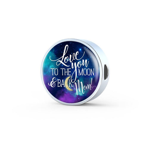 Love You to the Moon Mom, Charm, Steel Bracelet, engraved
