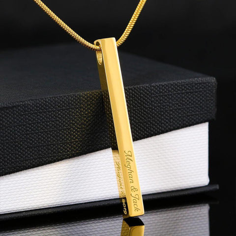 Engraved 4 sided Stick Necklace