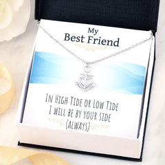"Made in the U.S. Fast Shipping ""In High Tide or Low Tide, Best Friend necklace in surgical stainless steel or 18k gold finish  with story card and gift box Will Be By Your Side (Always)"" Anchor Necklace gift ideas for best friend"