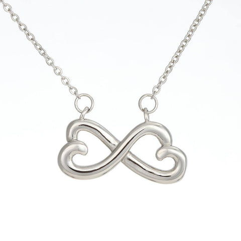 Mom to Daughter Infinity Hearts Necklace- Braver than  You Know