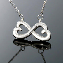 Mother to Daughter Infinity heart necklace in 18k yellow gold finish and 14k white gold finish with story card