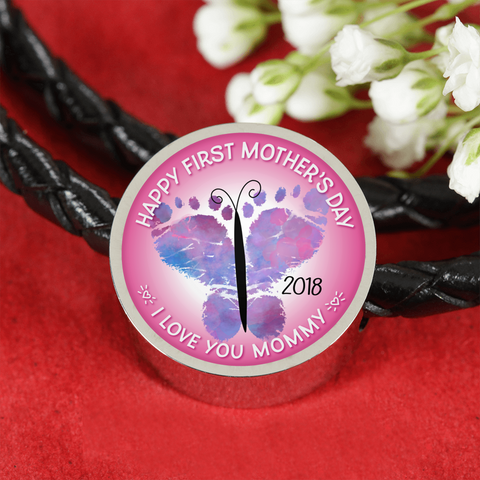 FirstMomsDay2018Pink, Leather bracelet/charm,engraved