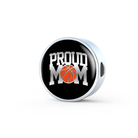 Proud Basketball Mom, Charm, Leather Bracelet, engraved