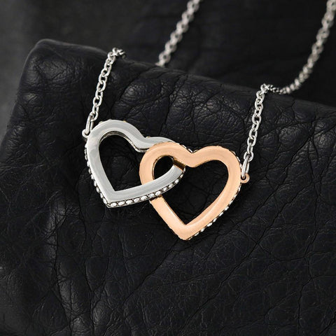 To My Gorgeous Wife-Interlocking Hearts Necklace with Message Card