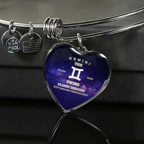 Zodiac-Gemini- Luxury Bangle Bracelet or Necklace with Heart Pendant, Silver or Gold, personalized engraving