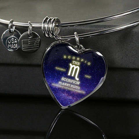 Scorpio- Luxury Bangle Bracelet or Necklace with Heart Pendant, Silver or Gold, personalized engraving