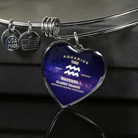 Zodiac-Aquarius- Luxury Bangle Bracelet or Necklace with Heart Pendant, Silver or Gold, personalized