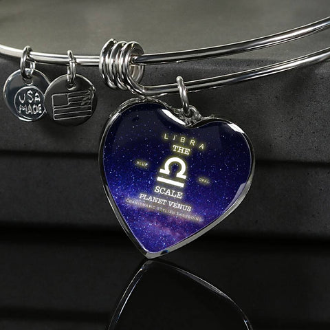 Zodiac-Libra- Luxury Bangle Bracelet or Necklace with Heart Pendant, Silver or Gold, personalized engraving