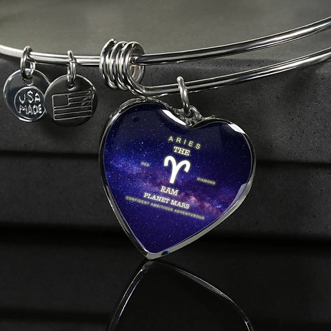 Zodiac-Aries- Luxury Bangle Bracelet or Necklace with Heart Pendant, Silver or Gold, personalized engraving