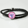 Image of FirstMomsDay2018Pink, Leather bracelet/charm,engraved