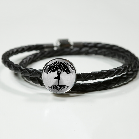 YogiTreeofLife-woven leather bracelet and charm, personalized
