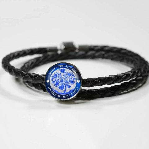 Mom, Heart of Family-Charm with woven leather bracelet, engraved