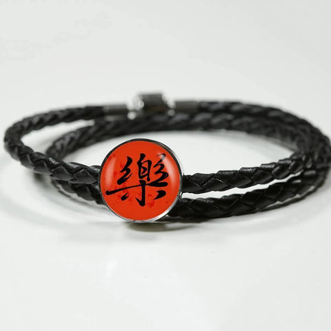 "Charm with Asian Calligraphy ""Joy"" in red, with or without woven leather bracelet, fits most charm bracelets, made in USA, personalized engraving"