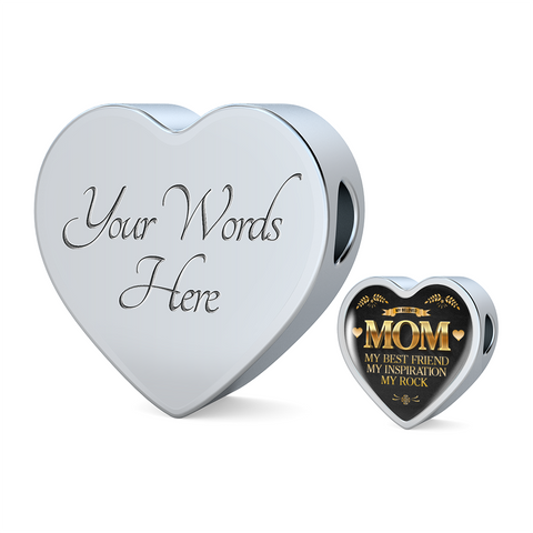 Mom My Rock-Woven Leather Charm Bracelet or Silver Charm alone, personalized
