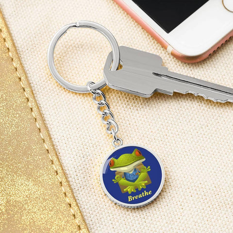 We all need a reminder to stop and breathe from time to time. This mindful Froggie on a custom personalized keychain may just do the trick.