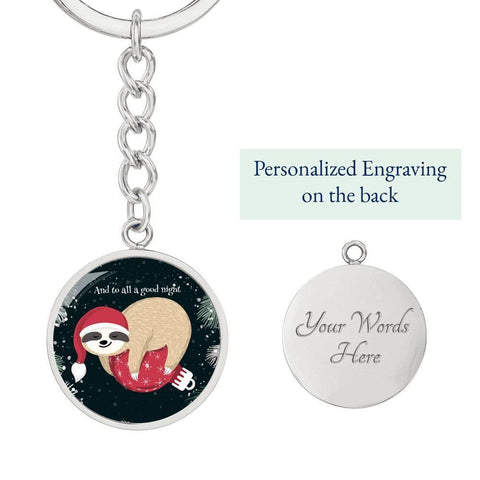 "Sloth ""To All a Good Night"" Keychain with Custom Engraving"