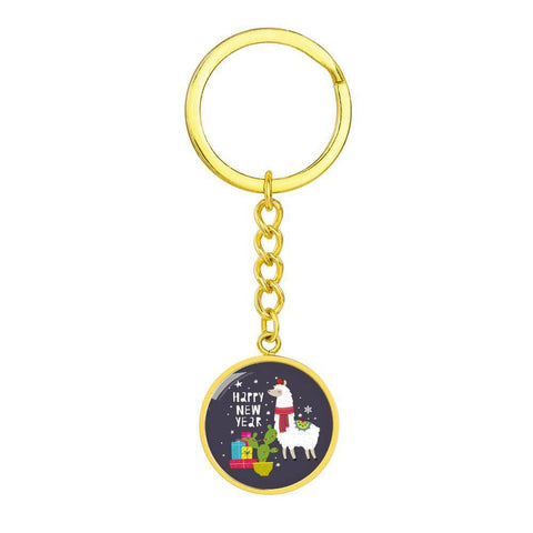 Llama Happy New Year Keychain with Round Pendant